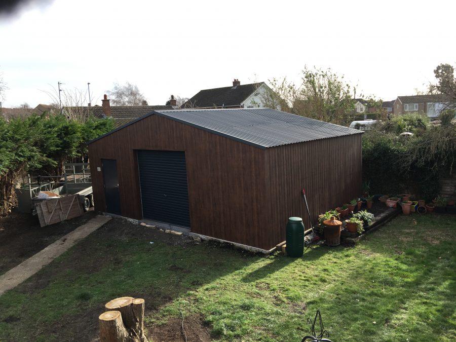 6m x 8m single skin steel garage
