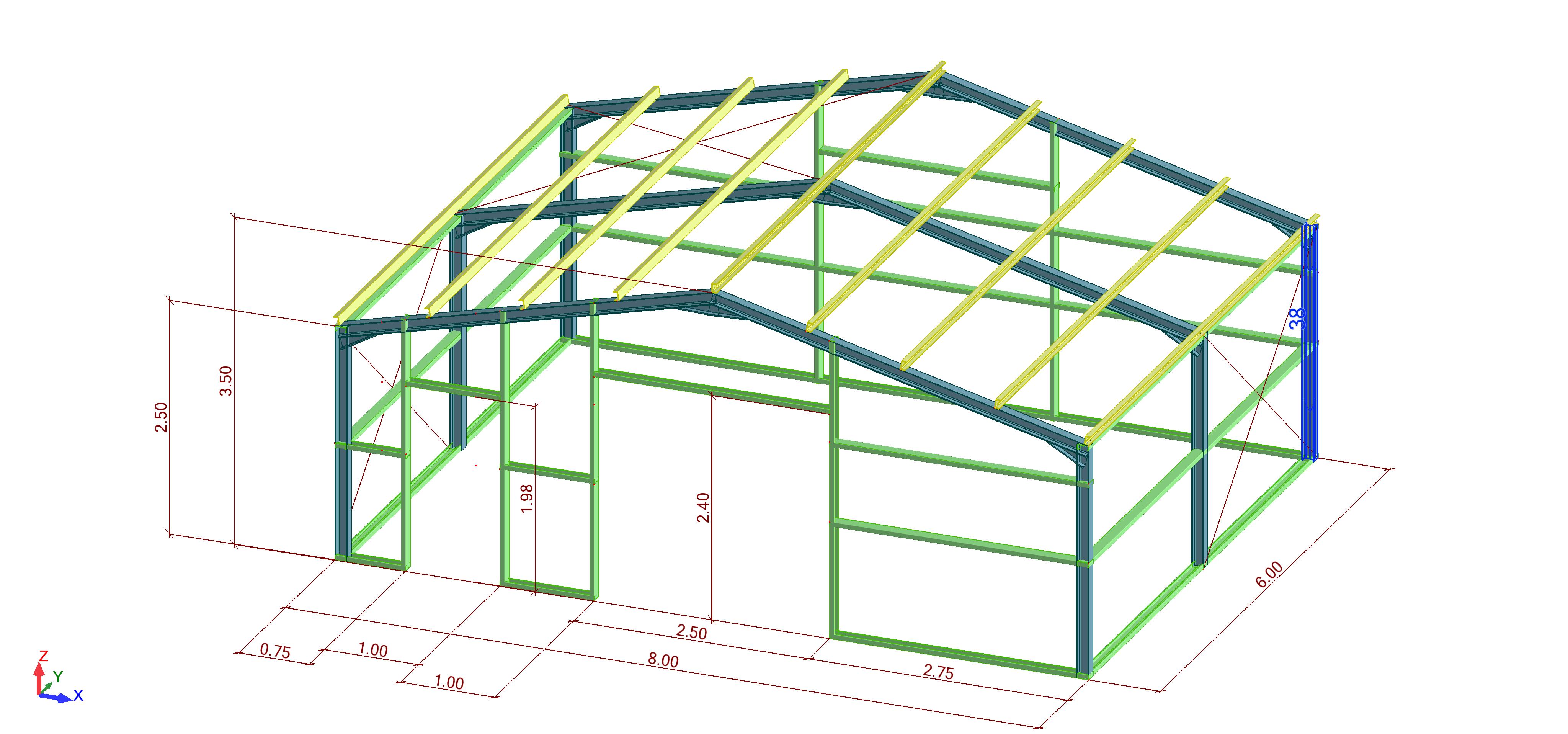 6m x 8m steel garage drawing